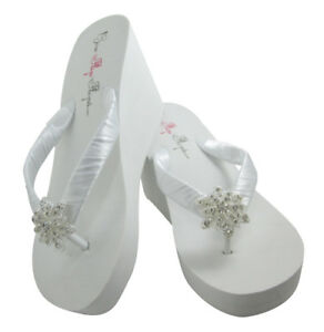f0183fb68c Details about High White or Ivory Wedge Vintage Flower Flip Flops- Bridal -  FREE SHIPPING