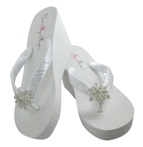 High White or Ivory Wedge Vintage Flower Flip Flops Bridal FREE SHIPPING