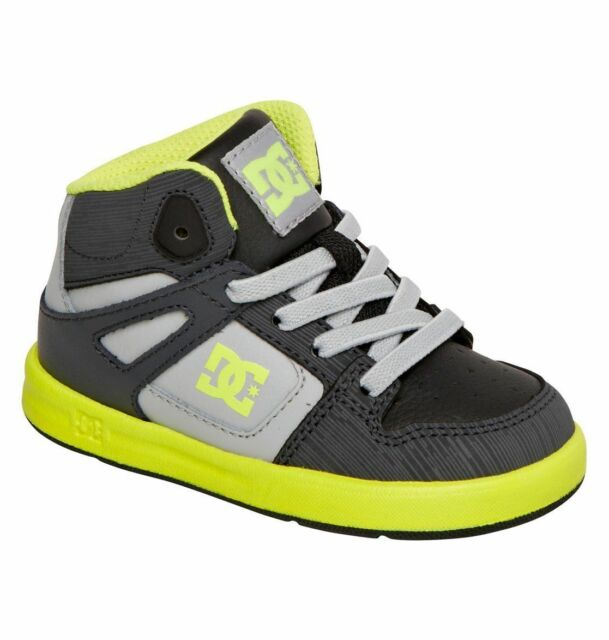 edd8961007 DC Rebound UL 320167 Black Gray Yellow Leather Laces Infant Toddler Boy New
