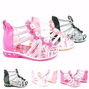 Girl's Infant Sandals Rhinestone Shimmering Straps Butterfly Zipper With Flowers