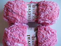 Festival Mix Fiber Plush Yarn, Pink Tones, Lot Of 2
