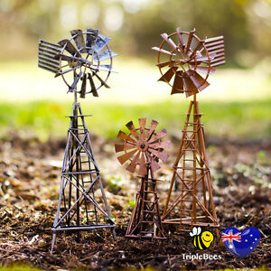 Image Is Loading Metal Windmill Ornament Garden Decoration Garden  Decor Silver