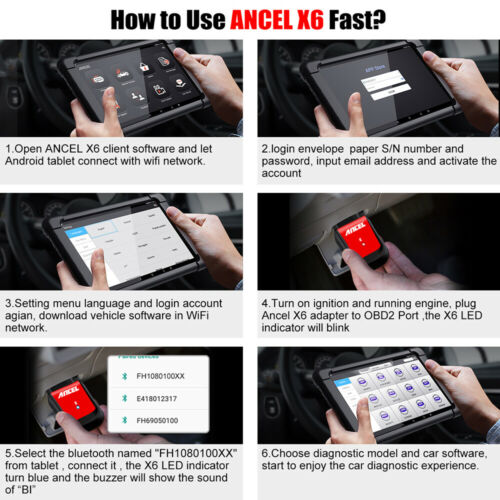 Ancel X6 Tablet All system OBD2 Scanner Automotive ABS DPF IMMO Diagnostic Tool