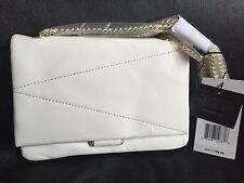 NWT B BRIAN ATWOOD Lexi Leather Crossbody Bag White/Gold MSRP: $168