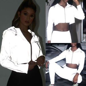 Womens-Reflective-Running-Jacket-Hoodie-Zipper-Hooded-Crop-Top-Coat-Casual-Sport