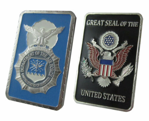 United States Air Force USAFSecurity Police1 oz Silver Plated Bar U.S