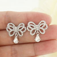Bridal Bridesmaid Butterfly Teardrop Dangle Earrings Clear Austrian Crystal Chic