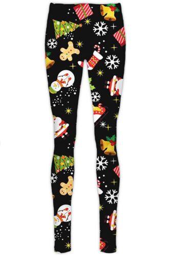 New Women Ladies Christmas Printed Stretchy Full length Party Leggings pants