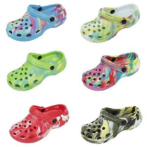 Childrens Kids Boys Girls Clogs Tie-Dye Camo Color Garden Beach Pool Shoes Sizes