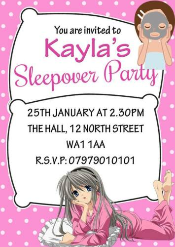 PERSONALISED CHILDRENS SLEEPOVER PARTY INVITES BIRTHDAY PARTY INVITATIONS X8