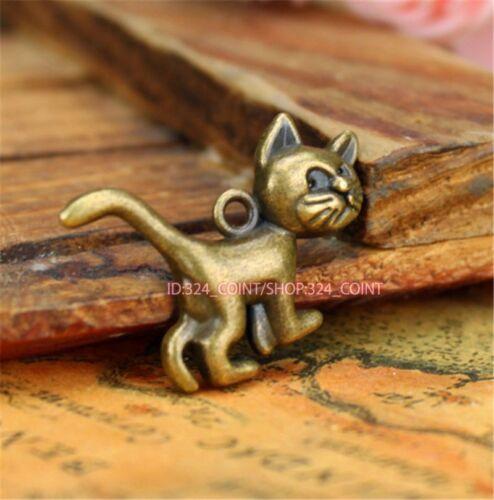 P728B 30pc Retro Antique Bronze cat Pendant Beads Charms Jewellery Making