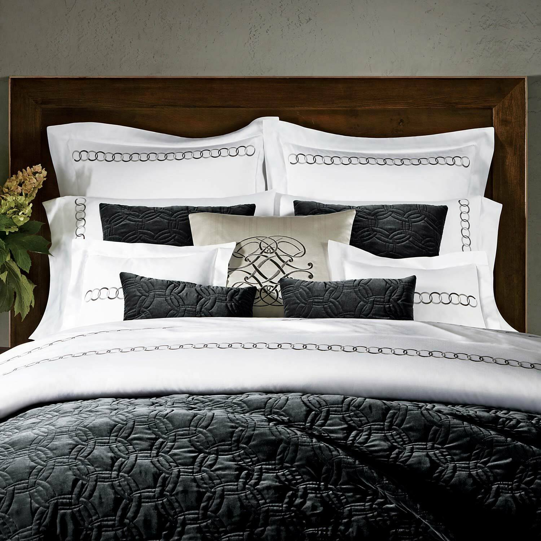 Pratesi Orbite Collection Queen Velvet Quilt Bedspread Dark grau Made In