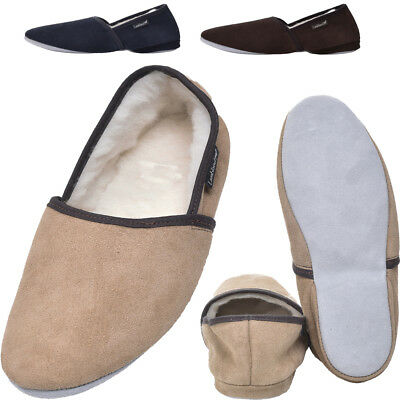 Gents Leather Wool Lined Slippers Sheepskin Moccasins SNUGRUGS Mens