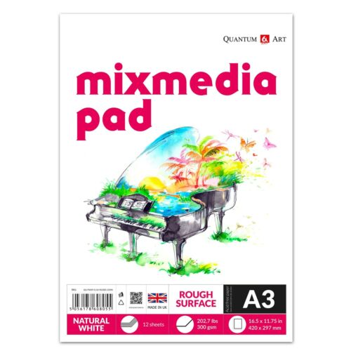 Mixed Media Drawing Painting Artist Paper Pad GUMMED Book Decoupage 300gsm