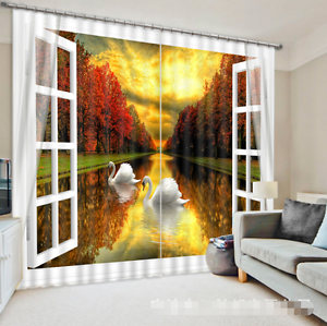 3D Schwan Wald 352 Blockade Foto Vorhang Druckvorhang Vorhänge Stoff Fenster DE