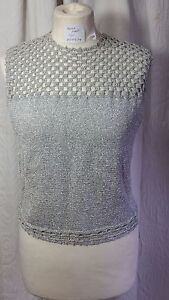 Shimmering-Sparkly-Silver-Knitted-Handmade-Crochet-Lady-Tank-Top-Size-12