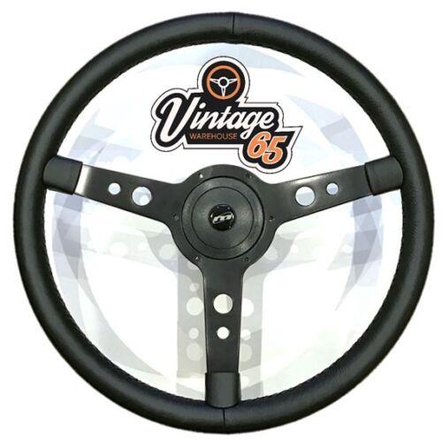 """Vw Transporter T4 Camper 17/"""" Steering Wheel /& Boss Horn Kit Satin Black Vinyl"""