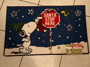"""Peanuts Snoopy Woodstock Christmas Accent Rug Welcome Mat 17x28/"""""""