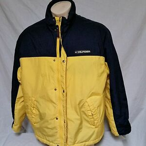 a47252e77 Details about VTG Tommy Hilfiger Coat Colorblock Flag 90's Ski Winter Lotus  Jacket Mens Large