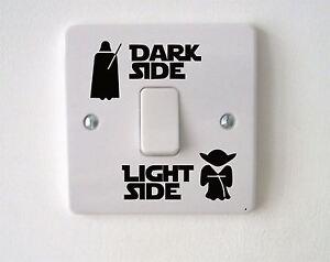 STAR-Wars-Dark-Light-Interruttore-laterale-Vinile-Decalcomania-Sticker-bambini-stanza-casa-muro