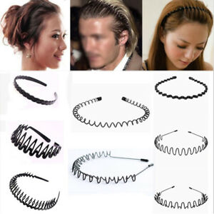 Unisex Men s Women Sports Wave Hair Band Plastic Black Hairband ... 1da2f2b0afe