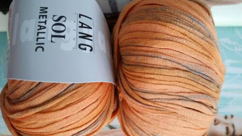 600g sol metalizado malla Lana Lang Yarns Apricot mandarín algodón natural