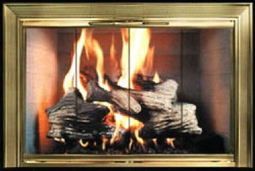 Polished Brass Premium Masonry Fireplace Door 36w x 30h 3630-CV2