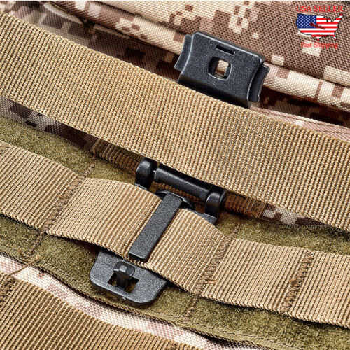 MOLLE Clip Tactical Strap Tool Web Dominator Buckle for Tactical Bag 10pc Black