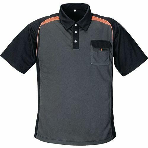 Terrax Herrenpoloshirt 3XL XXXL dunkelgrau//schwarz//orange 50/% PES//50/% Cool Dry