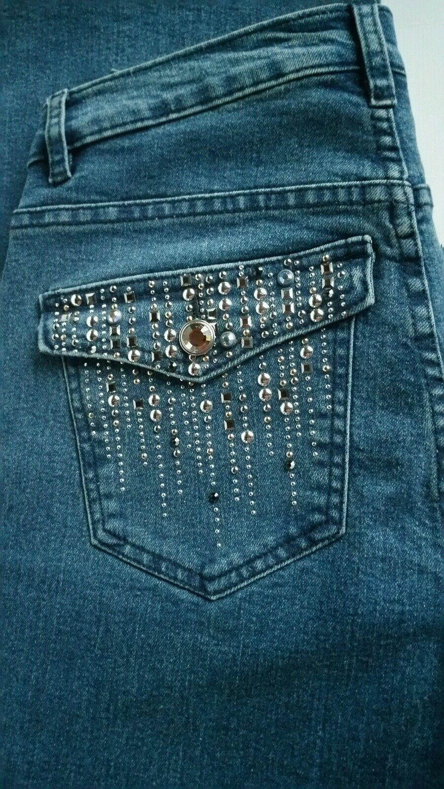 NWOT Christine Alexander bluee Jeans w  Swarovski Crystals Women's Sz 6