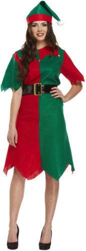 New Christmas Fancy Dress Adult Elf Costume Outfit Male /& Female Santa Helper