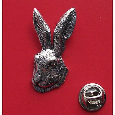 English Pewter HARES HEAD Pin Badge Tie Pin / Lapel Badge XTSBPA73