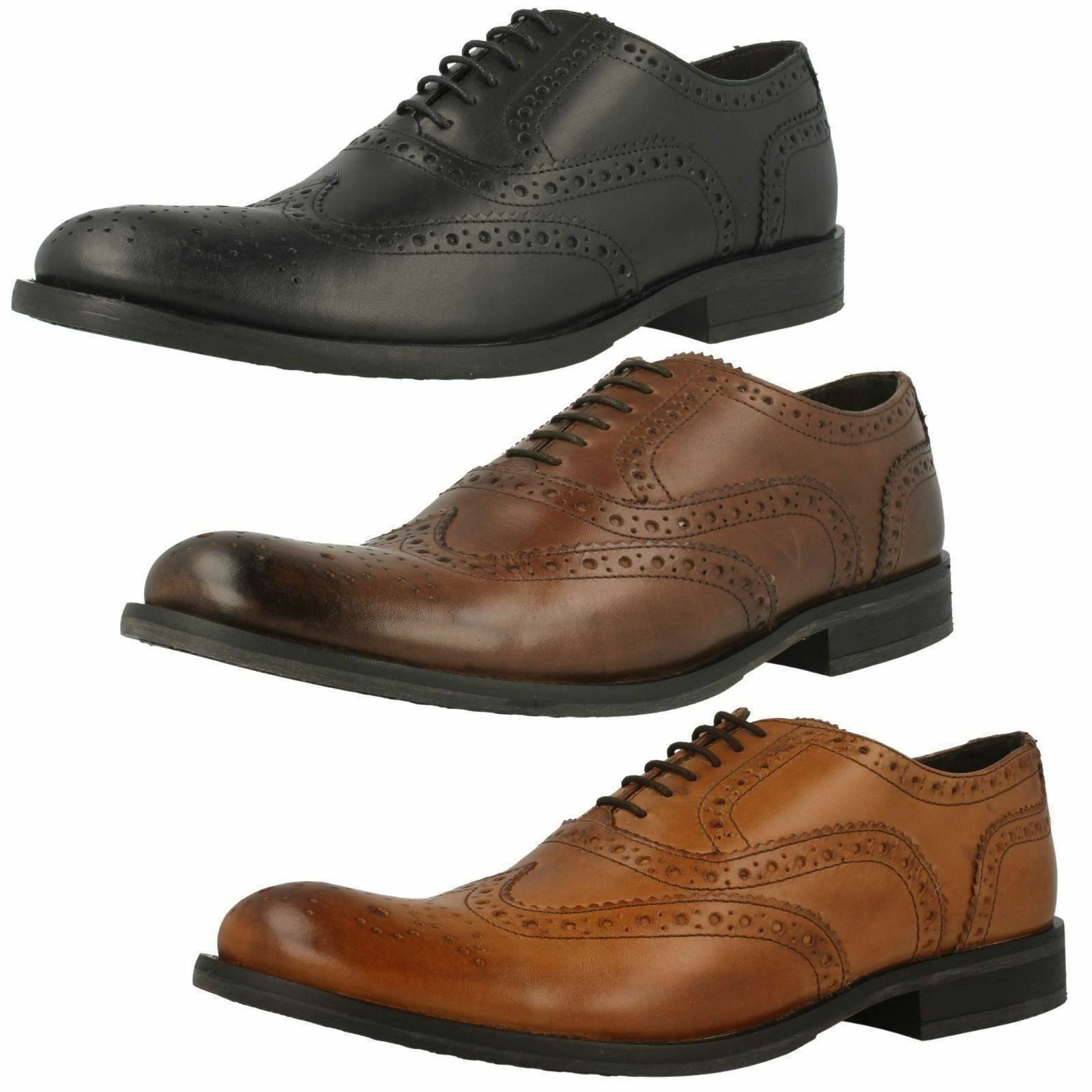 Herren BASE WAXY SHOE LEATHER BROGUE LACE UP SHOE WAXY IN BROWN & BLACK STYLE - WALNUT d5a95c