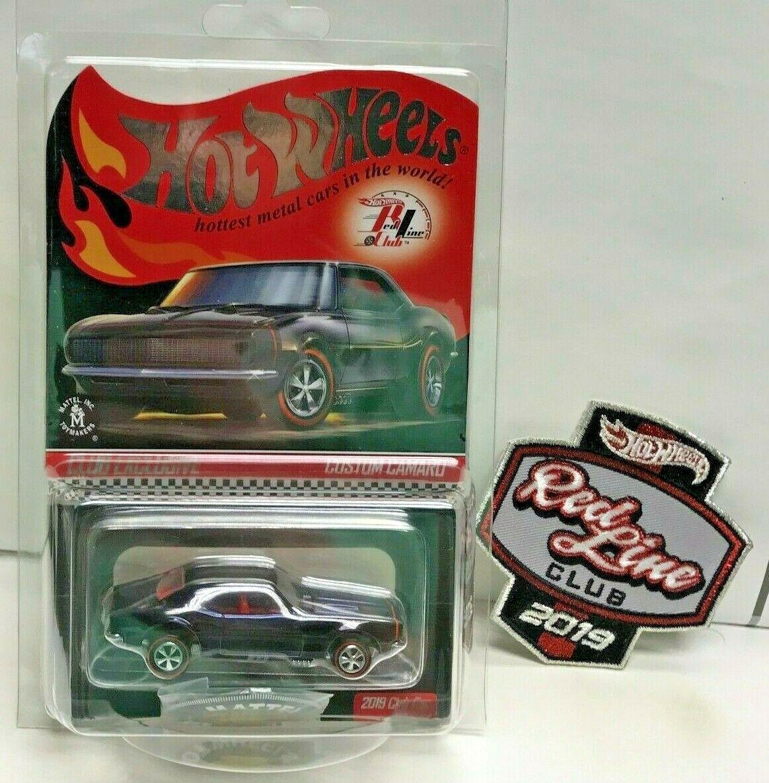 Hot Wheels 2019 rosso Line Club RLC CAMARO coche personalizado con parche de afiliación Botón &