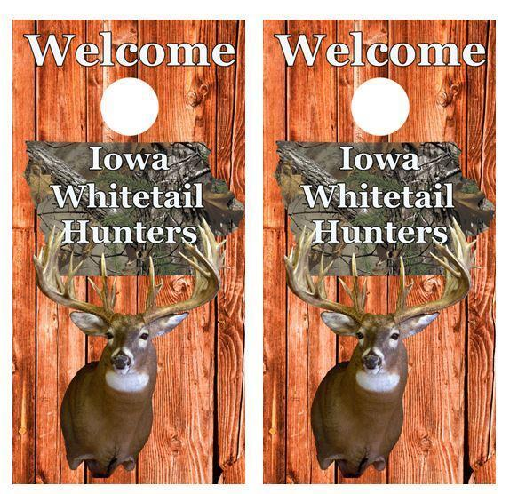 Welcome Iowa Whitetail Deer Hunters Cornhole Board Skin Wrap FREE SQUEEGEE