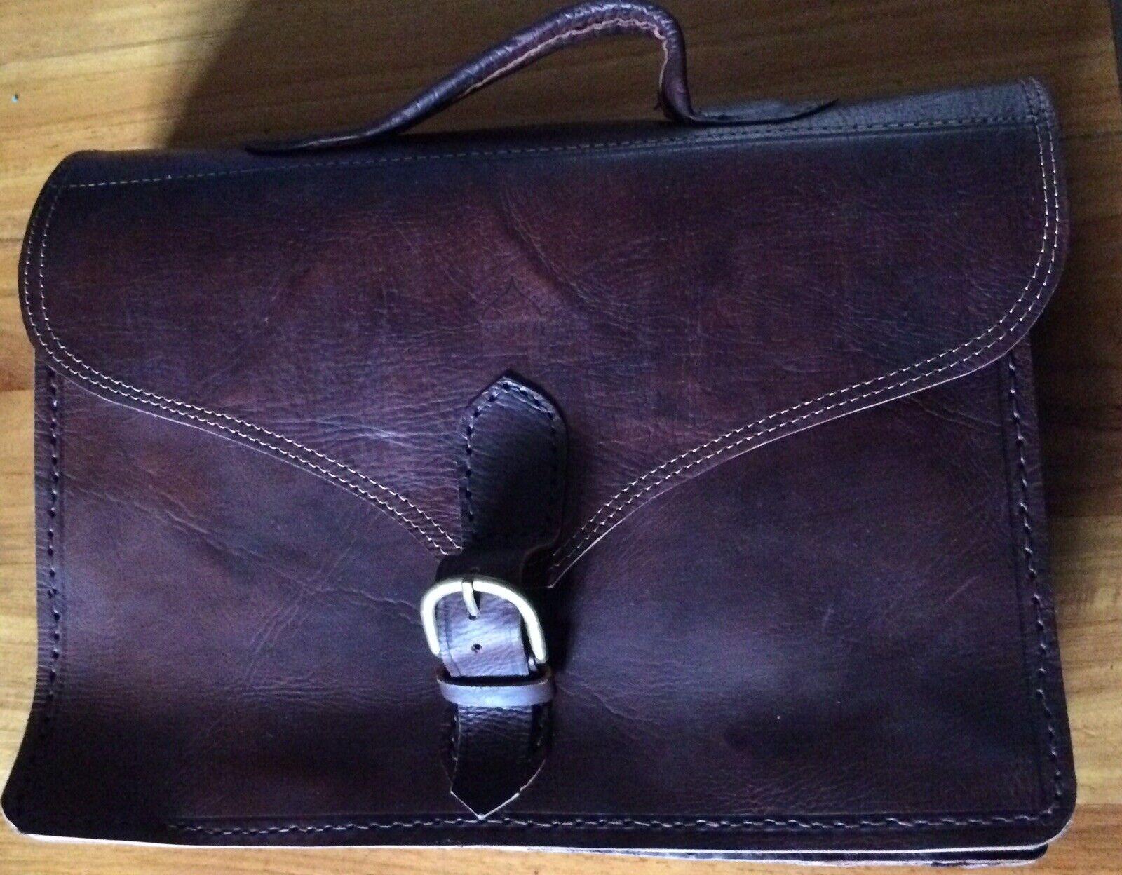 Berber Satchel Dark Brown LEATHER briefcase bag large full grain