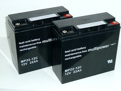 2 x Multipower 12V / 22Ah MP22-12C   Blei-AKKU   Zyklenfest
