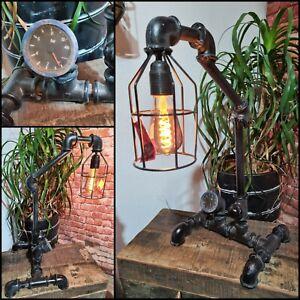 Vintage Industriell Rustikal Retro-Stil Rohr Licht Steampunk Tischlampe