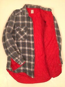 manga de Plaid camisa de Navy L larga Old acolchada grande hombres Vintage presión algodón a para Iq8Bw0