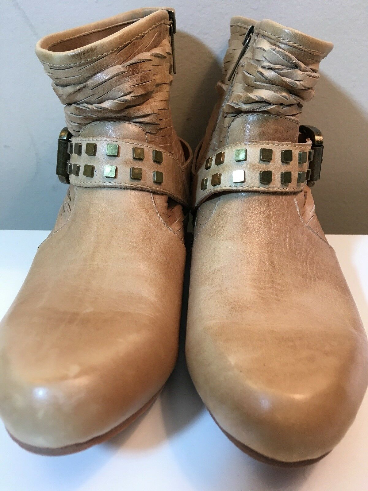 Mea Shadow Tan Leather Studded Harness Strap with Buckle Ankle Boots Size 9 M