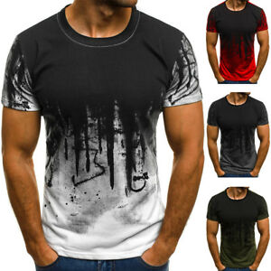 Details about Mens Slim Fit O Neck Short Sleeve Muscle Tee Shirts Casual T shirt Tops Blouse T
