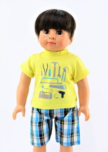 Handyman Plaid Shorts Set Fits 18 American Boy or Girl Doll Clothes