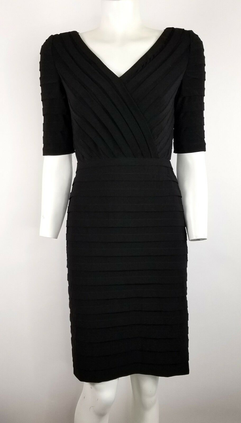 Adrianna Papell 8 Dress schwarz Short Sleeve Fully Lined Zip in Back