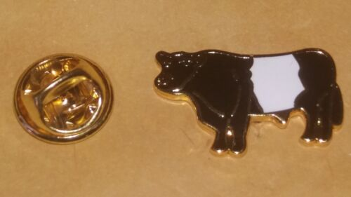 Belted Galloway Bull  lapel Pin Badge black and white