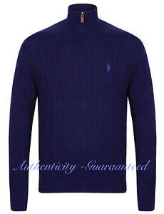 0d163f2c685c Ralph Lauren Polo Men s Half Zip Cable Knit Jumper Navy RRP £125 ...