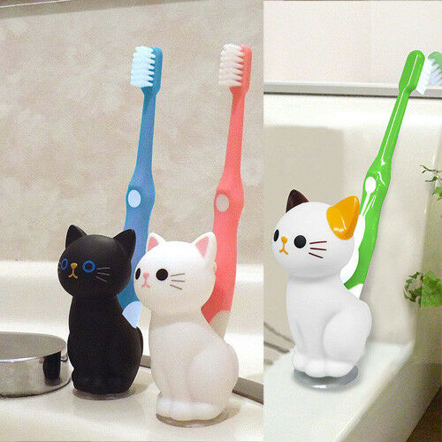 Meiho Cat Toothbrush stand holder Black ME185
