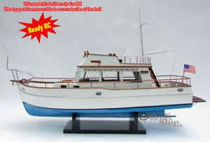 Details about Grand Banks 32 Ready for RC Handcrafted Model Boat Blue Hull