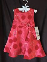 Rare Editions Little Girls Toddler Red Gold Circle Print Dress 2/2t $74 Xmas