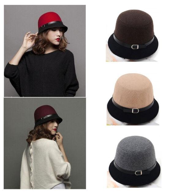 Women's Winter Fedora Dome Felt Hat Headwear Bucket Block Belt Cloche New