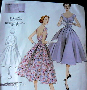 1950s VOGUE VINTAGE MODEL DRESS SEWING PATTERN 4-6-8-10 UNCUT